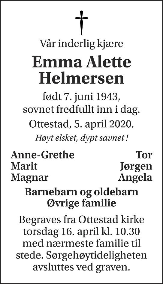 Emma Alette Helmersen Dødsannonse