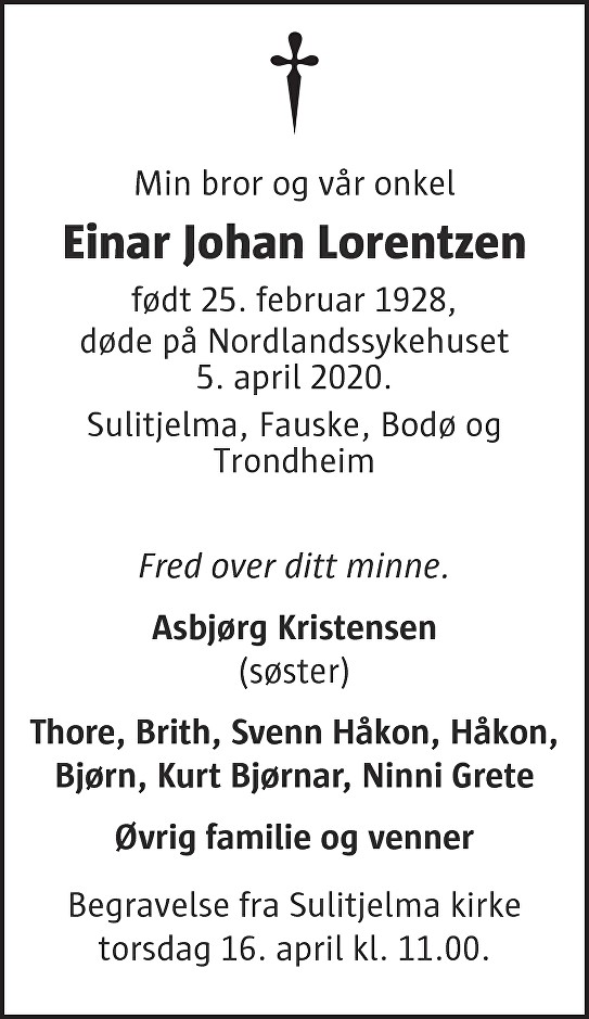 Einar Johan Lorentzen Dødsannonse