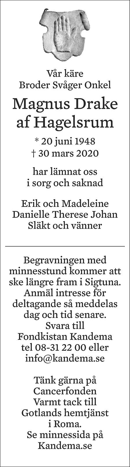 Magnus  Drake af Hagelsrum Death notice