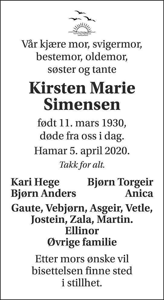Kirsten Marie Simensen Dødsannonse