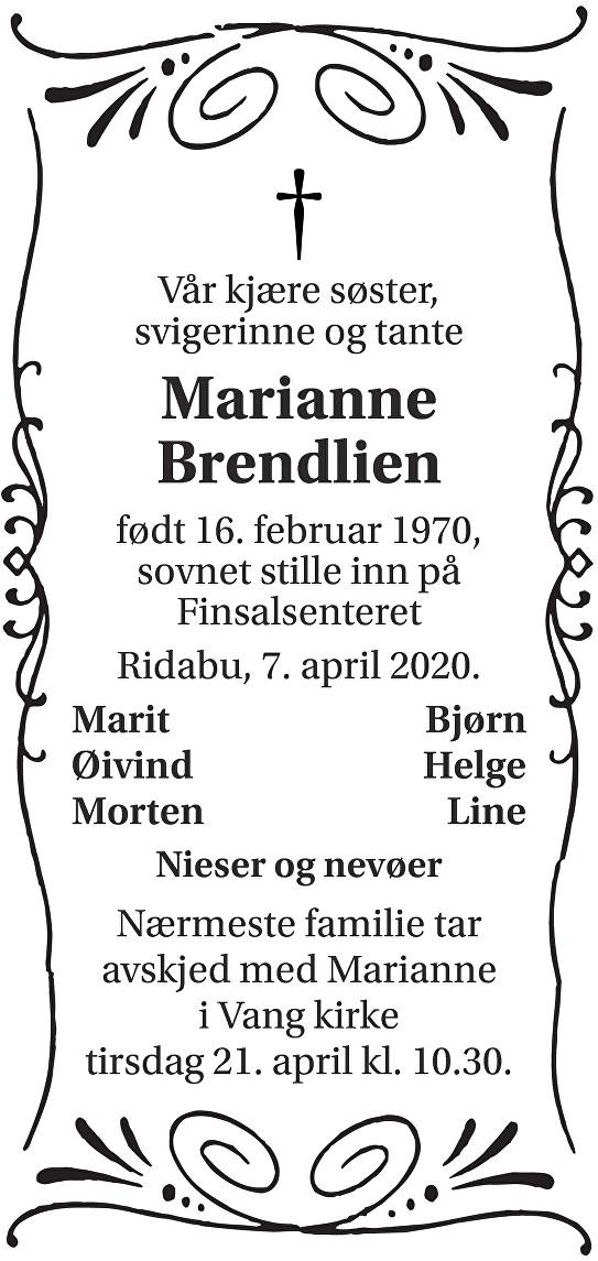 Marianne Brendlien Dødsannonse