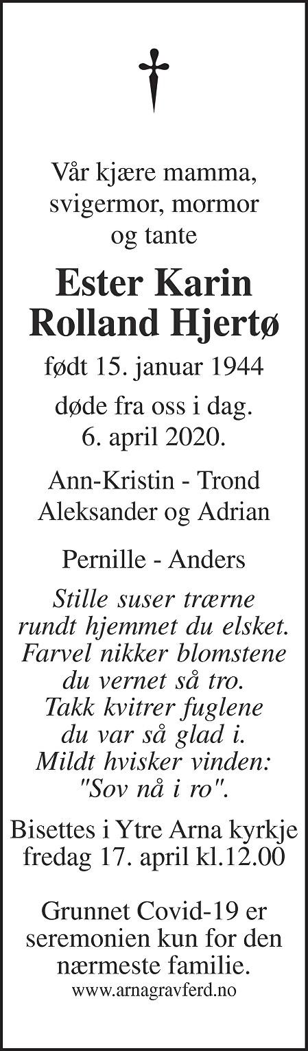 Ester Karin Rolland Hjertø Dødsannonse