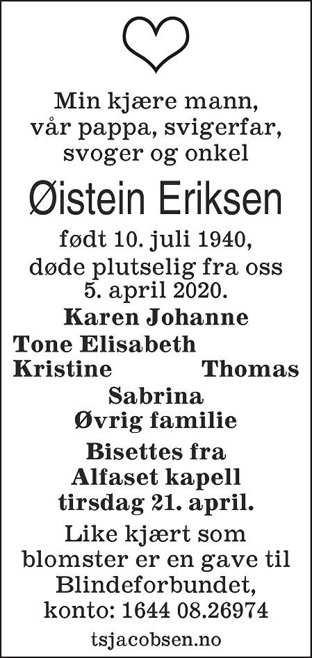 Øistein Eriksen Dødsannonse