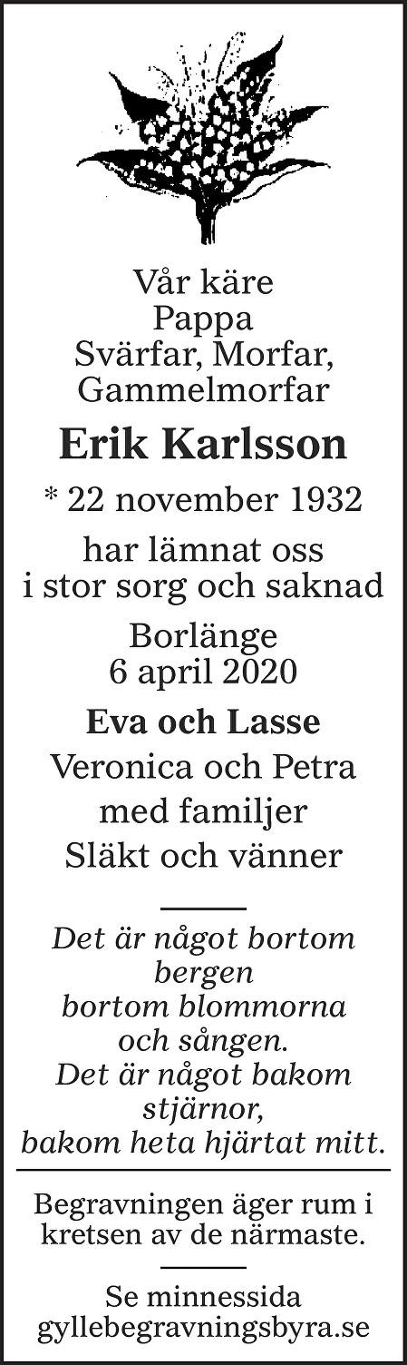 Erik Karlsson Death notice