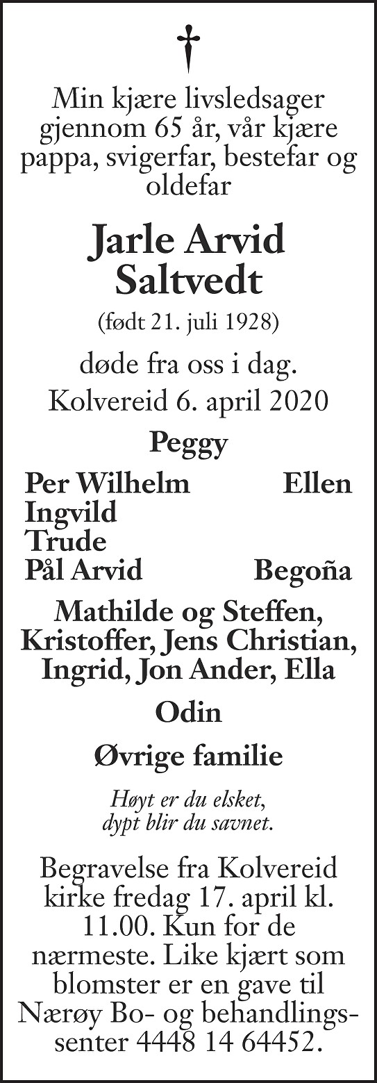 Jarle Arvid Saltvedt Dødsannonse