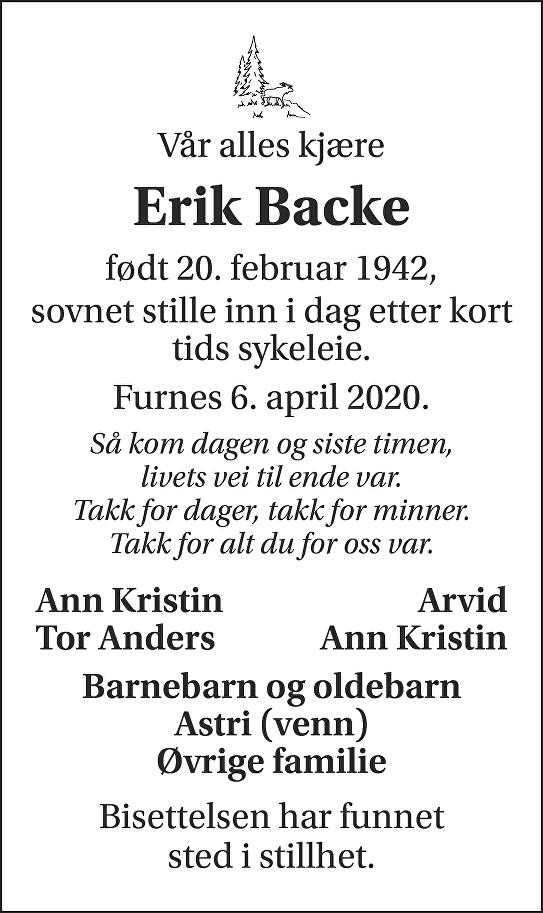 Erik Backe Dødsannonse