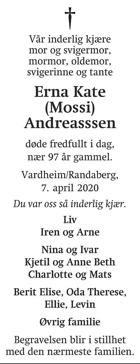 Erna Kate Andreasssen Dødsannonse