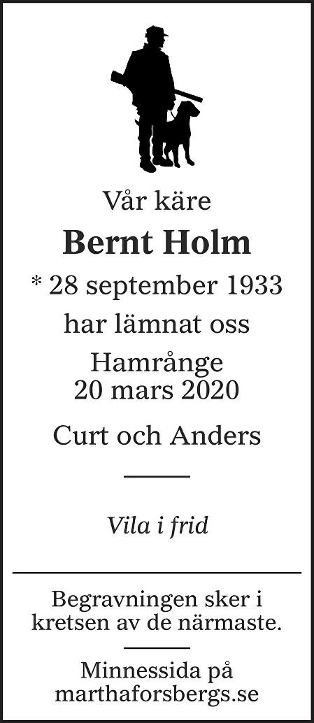 Bernt Holm Death notice