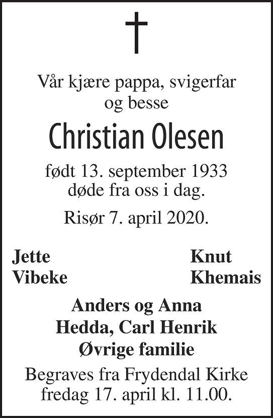 Christian Olesen Dødsannonse