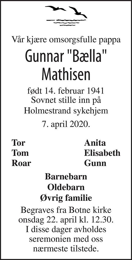 Gunnar Emil Mathisen Dødsannonse