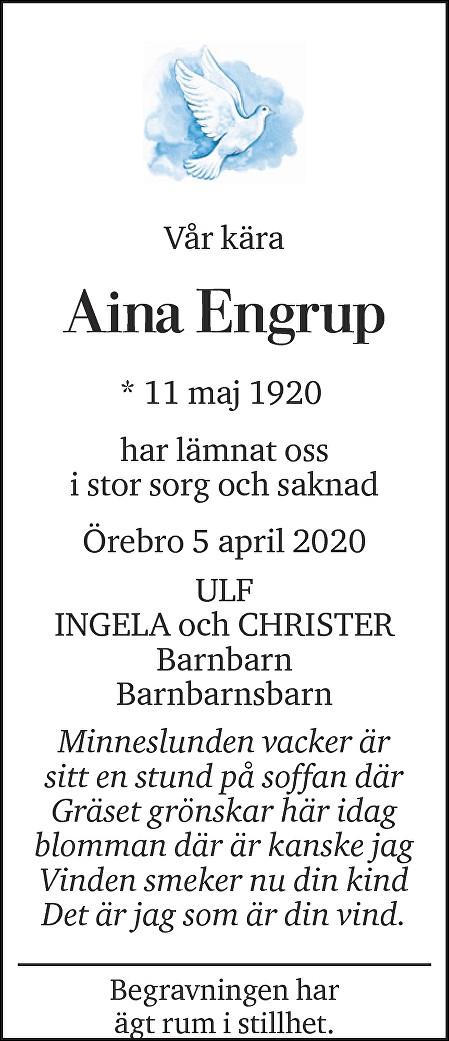 Aina Engrup Death notice