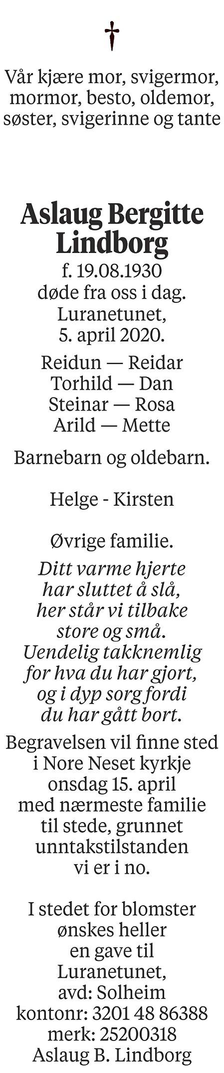 Aslaug Bergitte Lindborg Dødsannonse