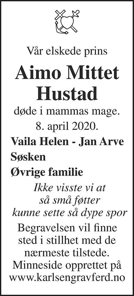 Aimo  Mittet Hustad Dødsannonse