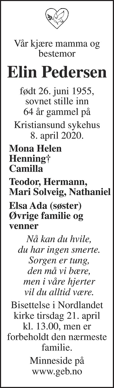 Elin Pedersen Dødsannonse