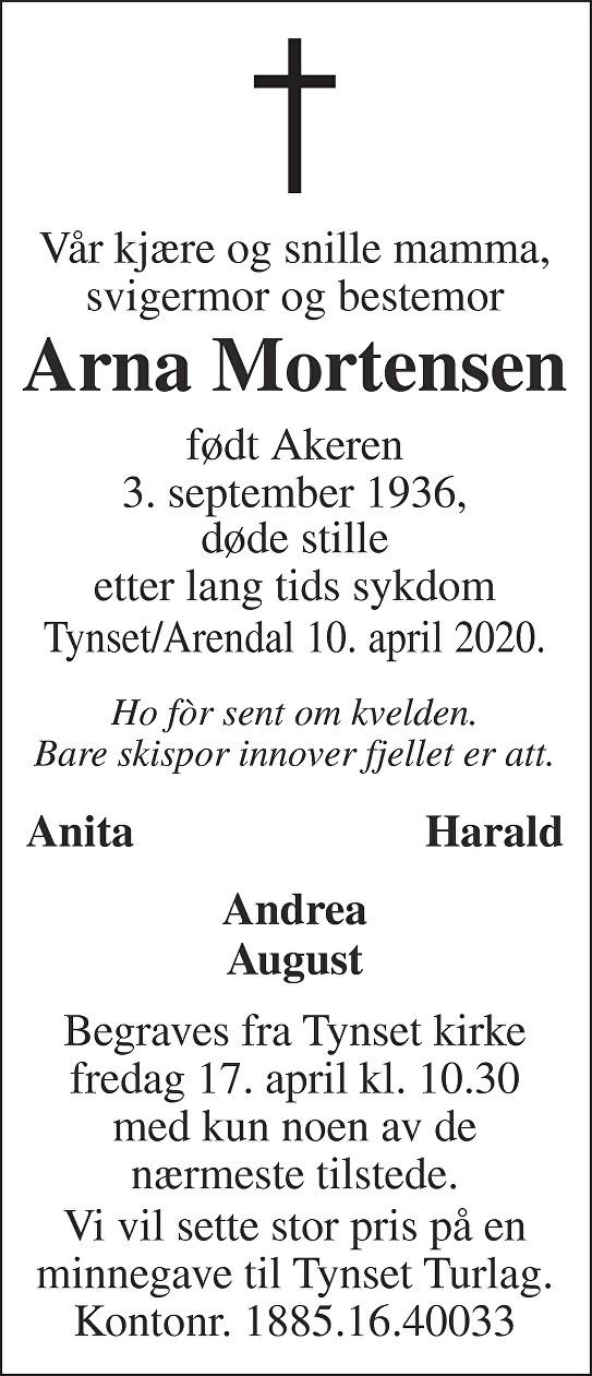 Arna  Mortensen Dødsannonse