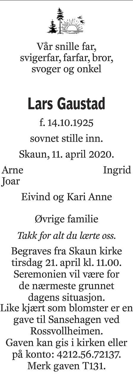 Lars Gaustad Dødsannonse