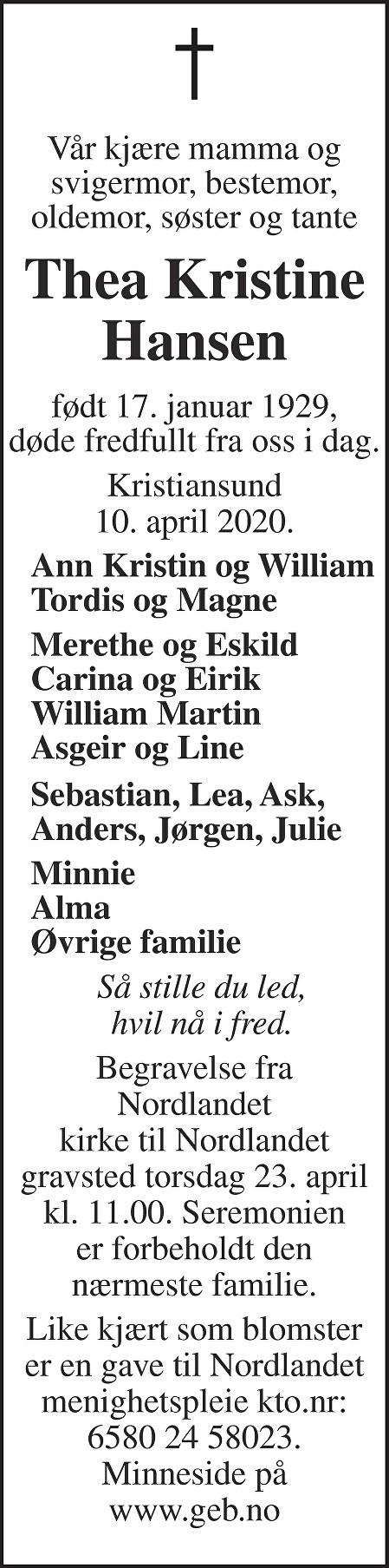 Thea Kristine Hansen Dødsannonse