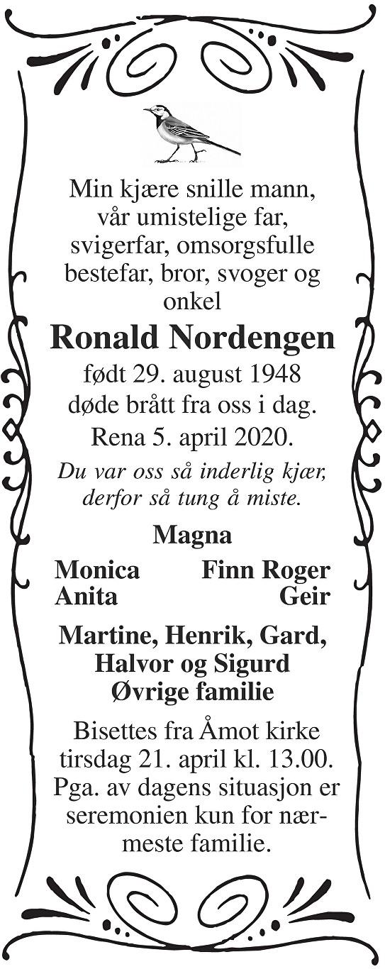 Ronald Nordengen Dødsannonse