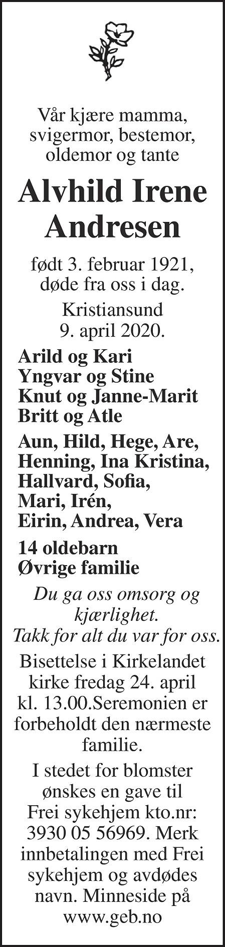 Alvhild Irene Andresen Dødsannonse