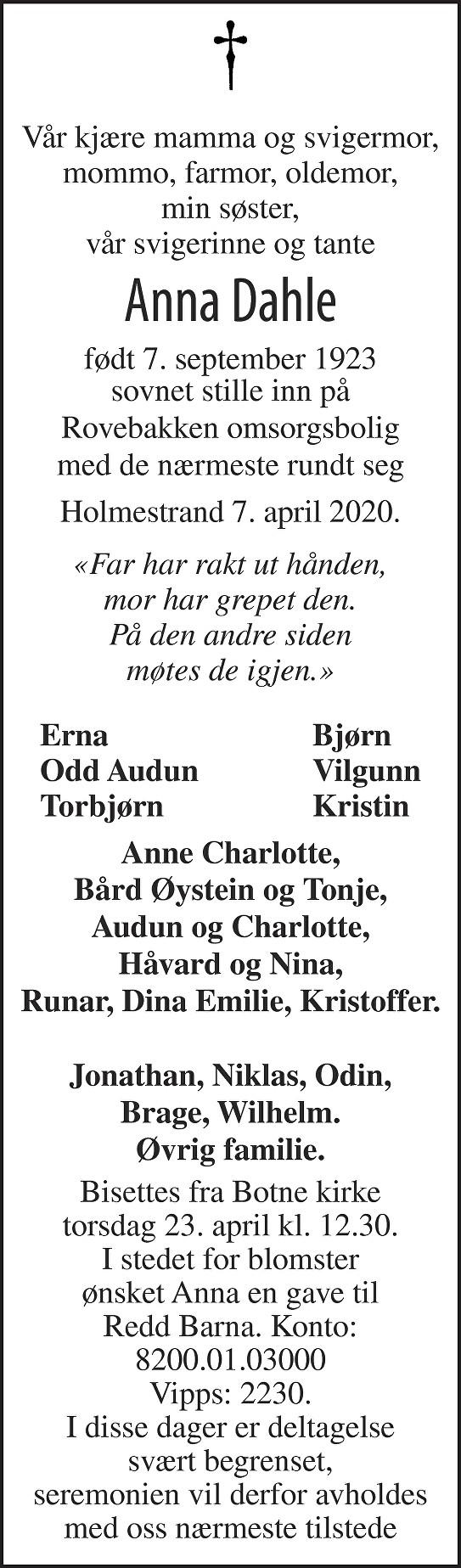 Anna Dahle Dødsannonse