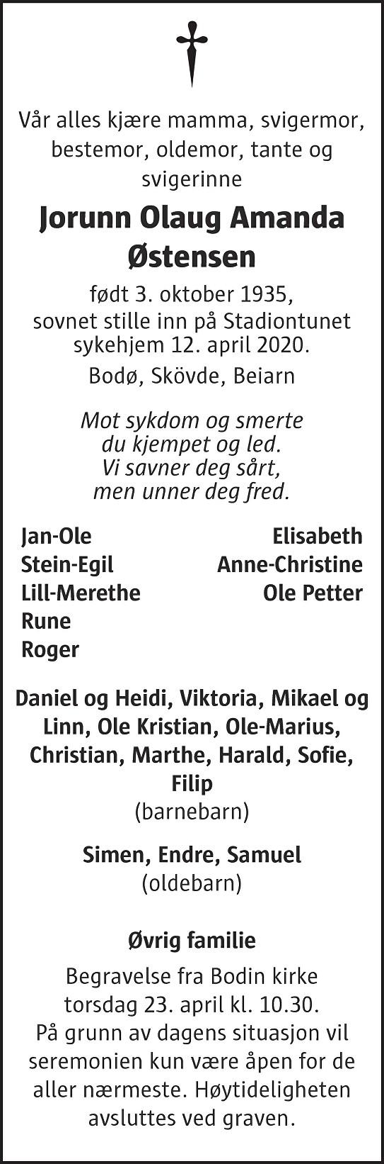 Jorunn Olaug Amanda Østensen Dødsannonse