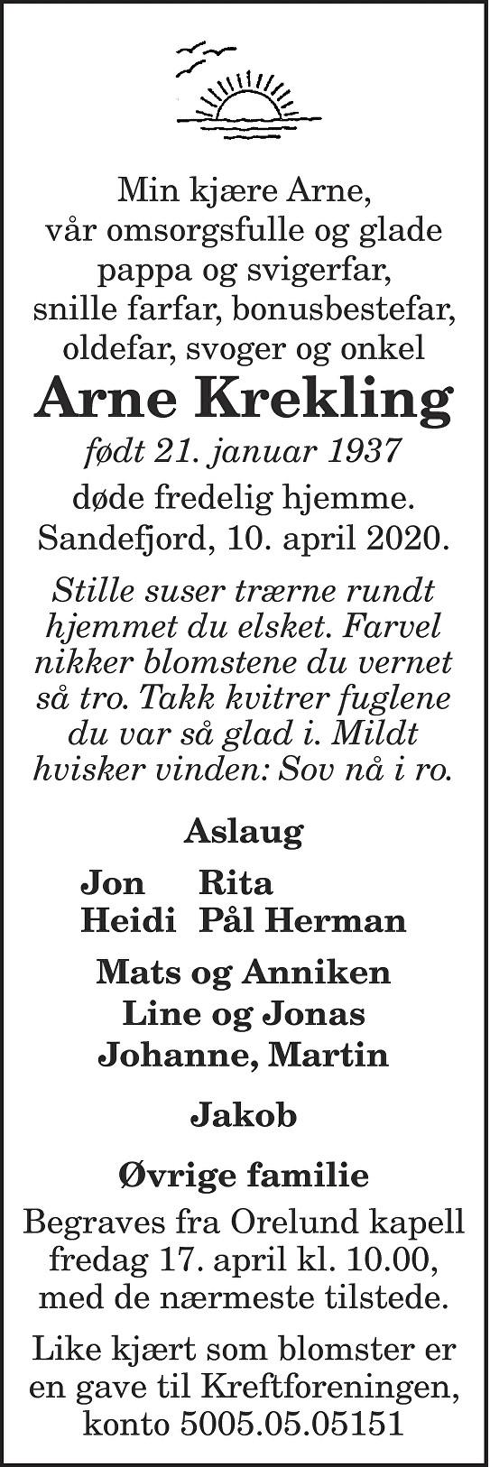 Arne Krekling Dødsannonse