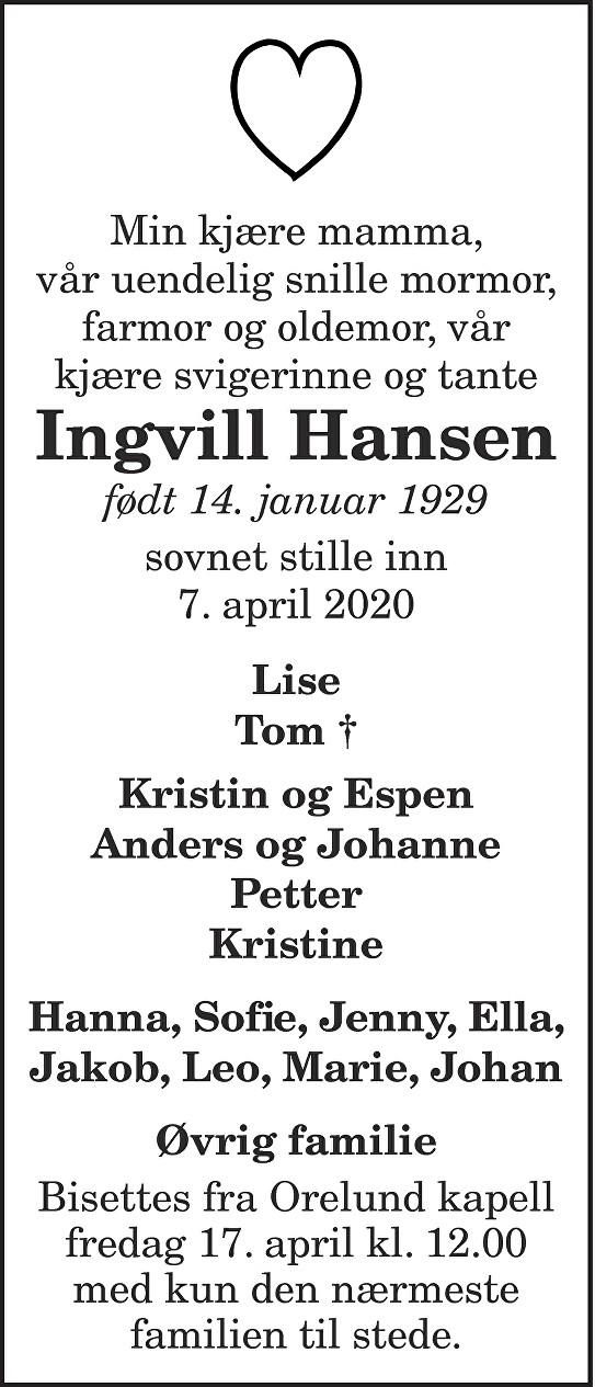 Kirsten Ingvill  Hansen Dødsannonse