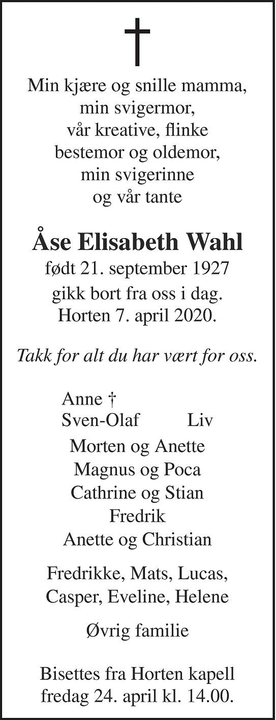 Åse Elisabeth Wahl Dødsannonse