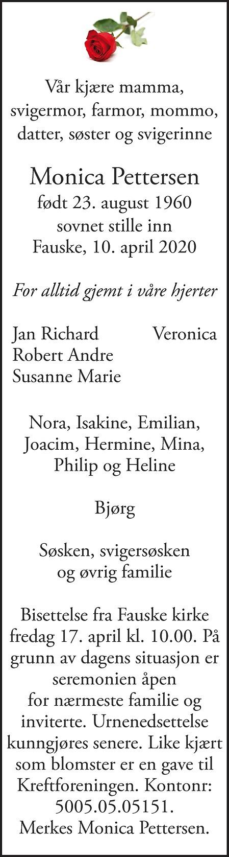 Monica Pettersen Dødsannonse