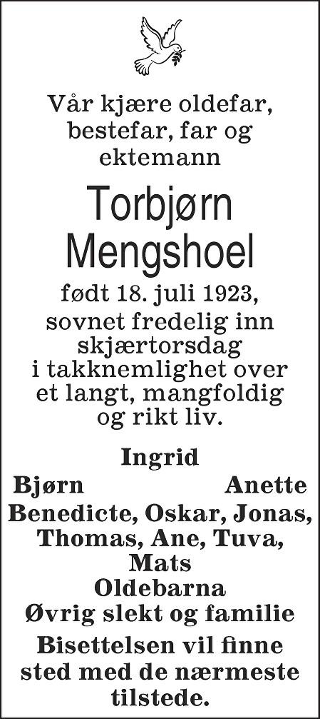 Torbjørn Mengshoel Dødsannonse