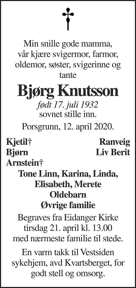 Bjørg Knutsson Dødsannonse