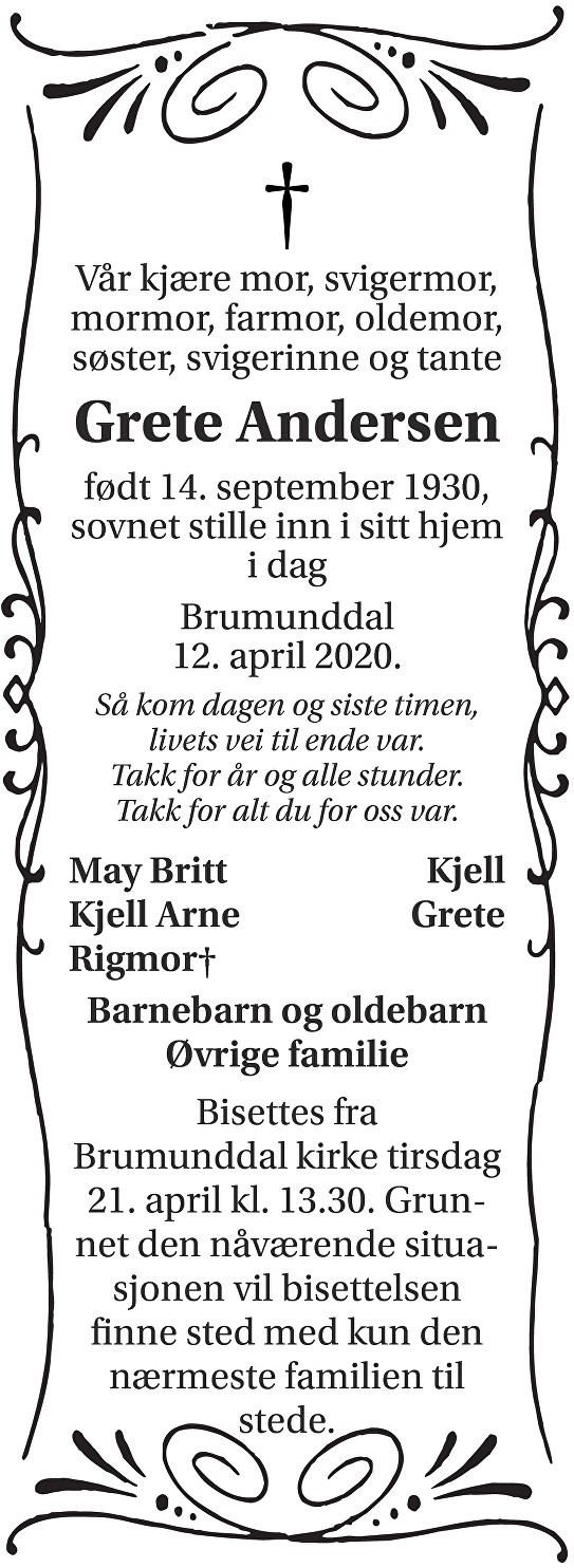 Grete Andersen Dødsannonse
