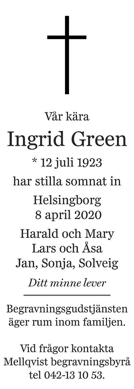 Ingrid Green Death notice