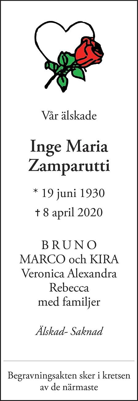 Inge Maria Zamparutti Death notice