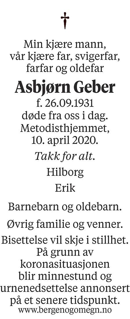 Asbjørn Geber Dødsannonse