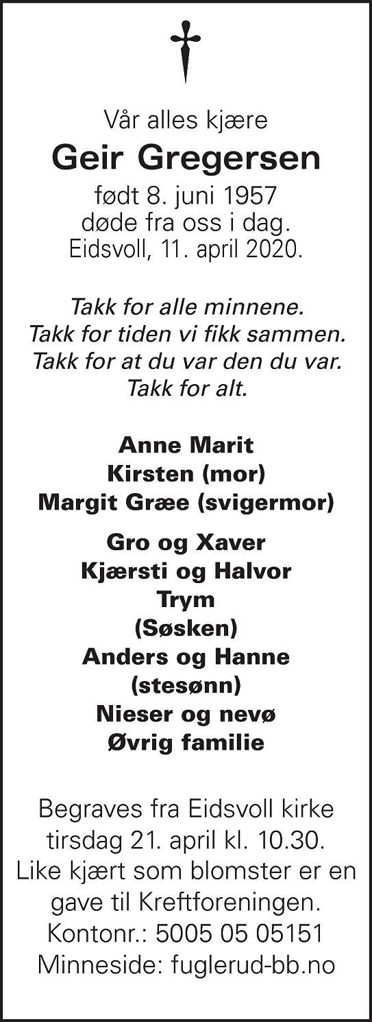 Geir Gregersen Dødsannonse