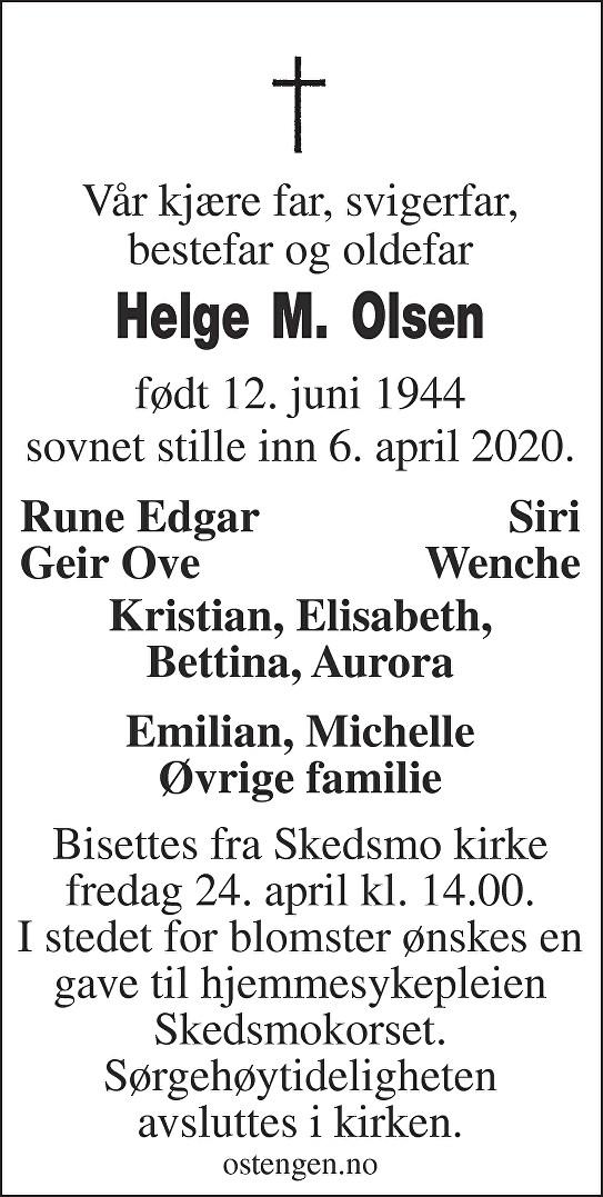 Helge Magnar Olsen Dødsannonse