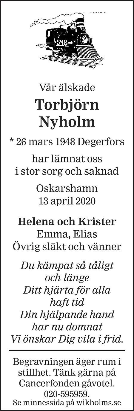 Torbjörn Nyholm Death notice