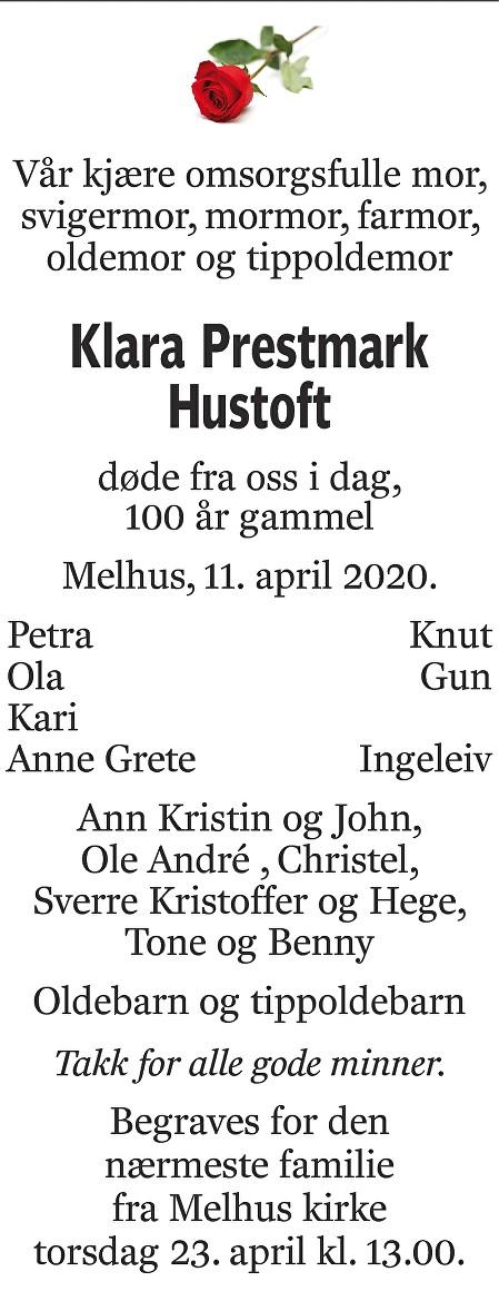 Klara Prestmark Hustoft Dødsannonse
