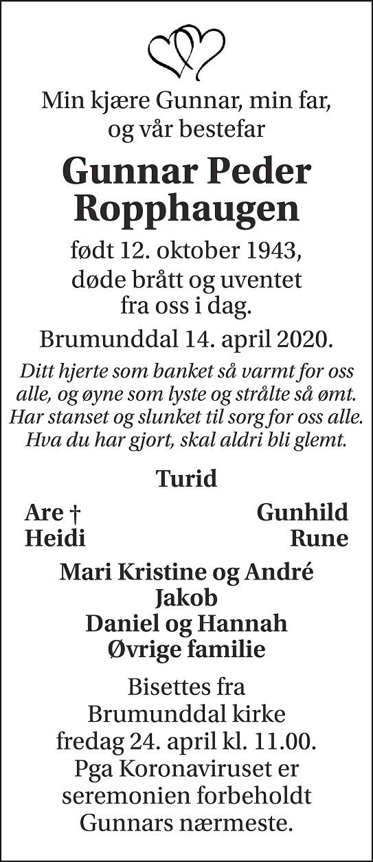 Gunnar Ropphaugen Dødsannonse
