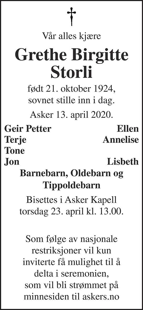 Grethe Birgitte Storli Dødsannonse