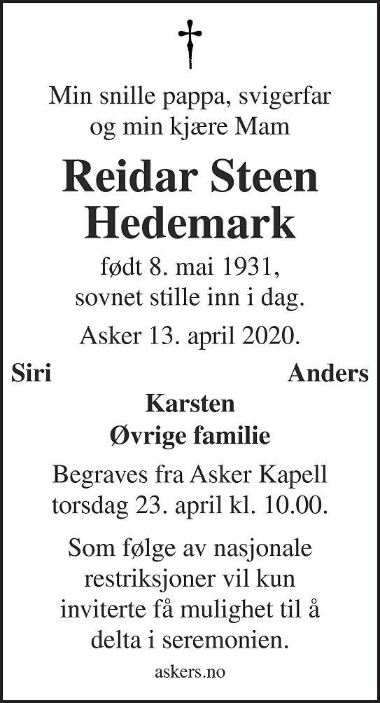Reidar Steen Hedemark Dødsannonse