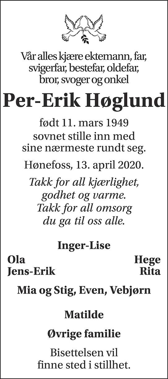 Per-Erik Høglund Dødsannonse