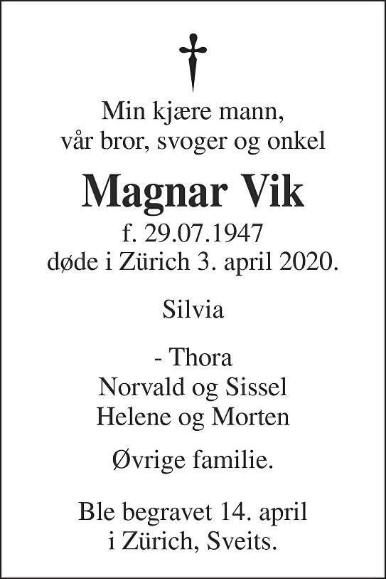 Magnar Vik Dødsannonse