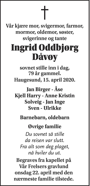 Ingrid Oddbjørg Dåvøy Dødsannonse
