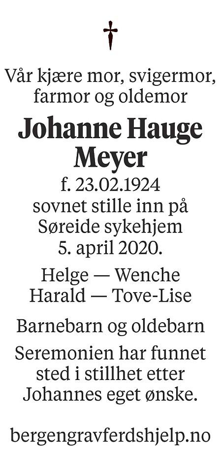 Johanne Hauge  Meyer Dødsannonse