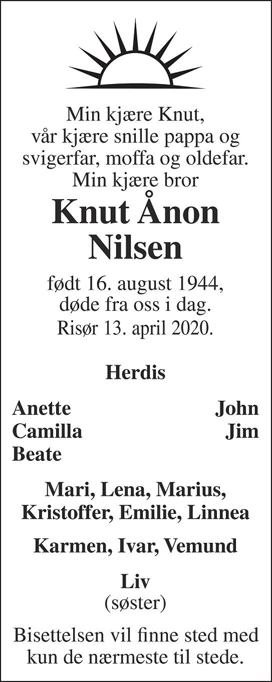 Knut Ånon Nilsen Dødsannonse