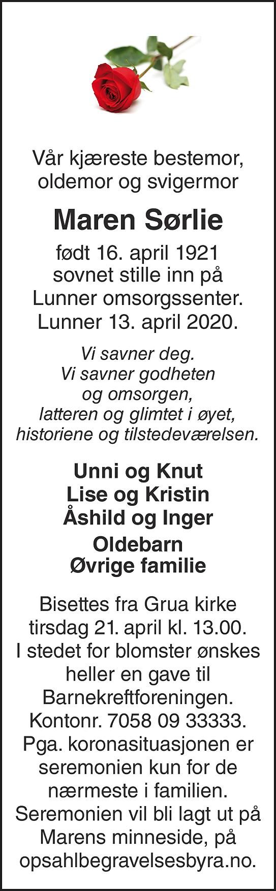 Maren Sørlie Dødsannonse