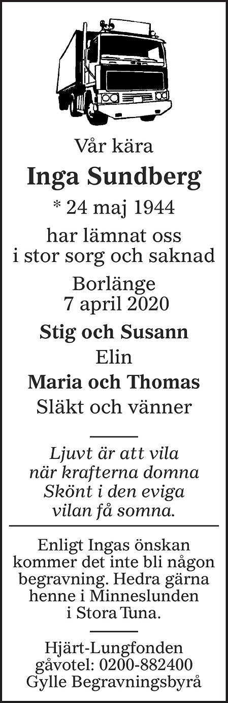 Inga Sundberg Death notice