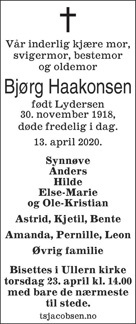 Bjørg Haakonsen Dødsannonse